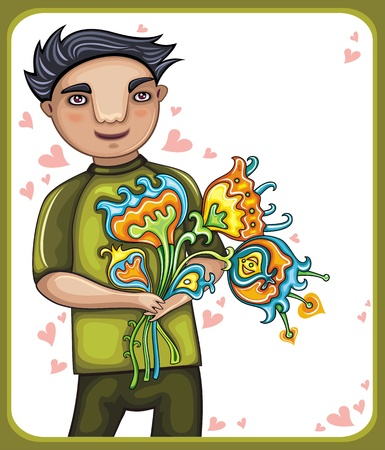 yong: Young boy with flowers Illustration
