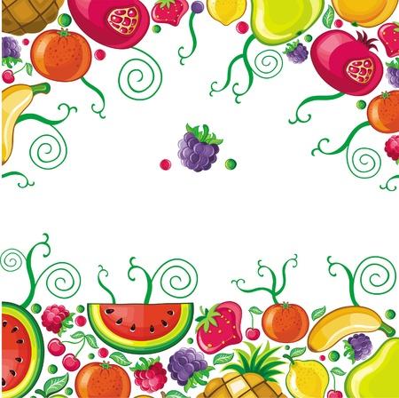 abstract fruit: Diferentes tipos de frutas deliciosas combinan en marco. Con espacio para el texto