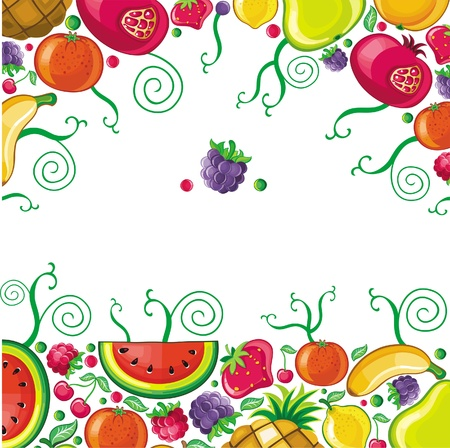 abstract fruit: Different types of delicious fruits combined in frame. With space for your text