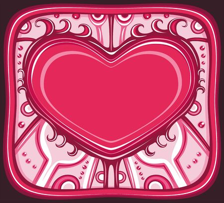 Vector Valentines Day heart frame with space for your text. Composition is done in a beautiful decorative style with hand drawn ornaments.  Vector