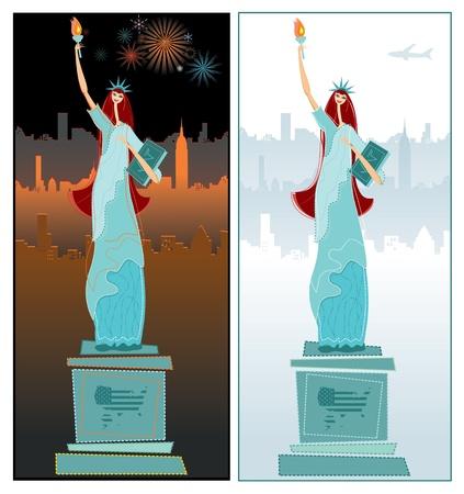 tag und nacht: Die Freiheitsstatue. Tag-Nacht.