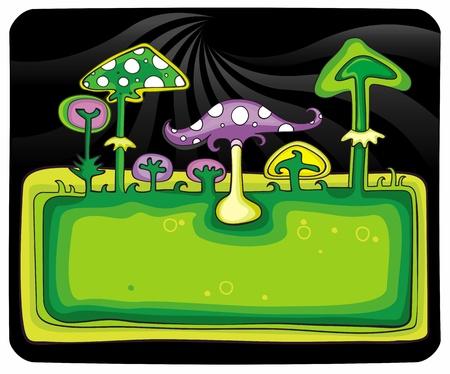 food poison: Mushrooms banner.  Illustration