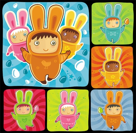 asian bunny: A cute little babies dressed as an Easter Bunnies with Easter eggs  Illustration
