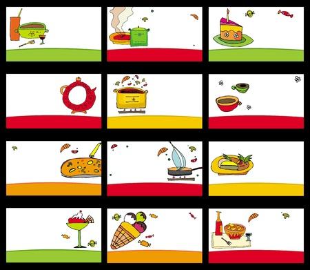 15 tarjetas de coloridos alimentos