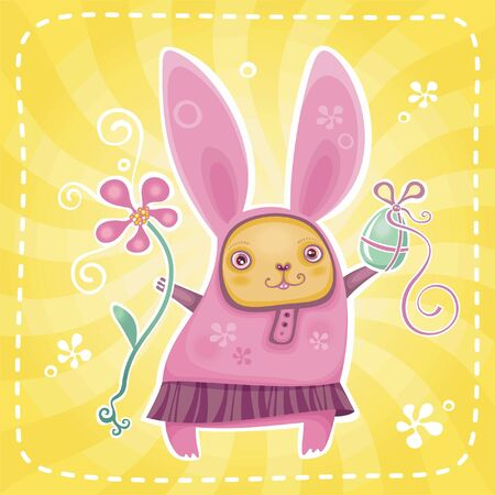 Funny bunny brings you Easter presents.  Vector