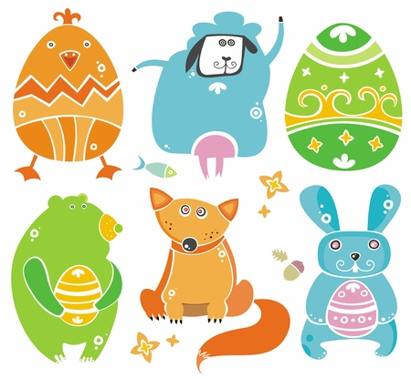 Cute Easter animals with eggs.  Vector