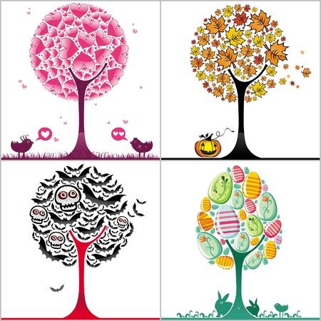 Conjunto de �rboles estilizadas coloridos