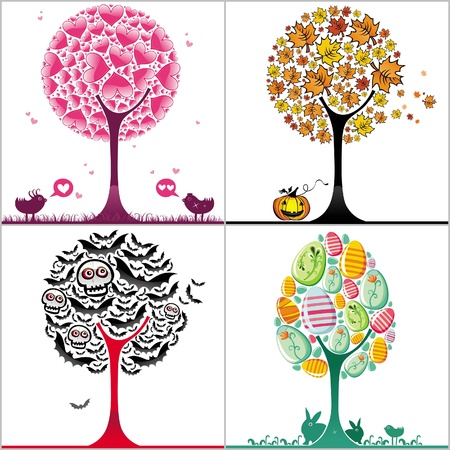 Set of colorful stylized trees Vector