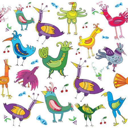 aves caricatura: Coloridos p�jaros lindos, textura transparente Vectores