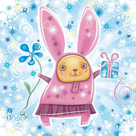 brings: Funny bunny brings you Easter presents. Illustration