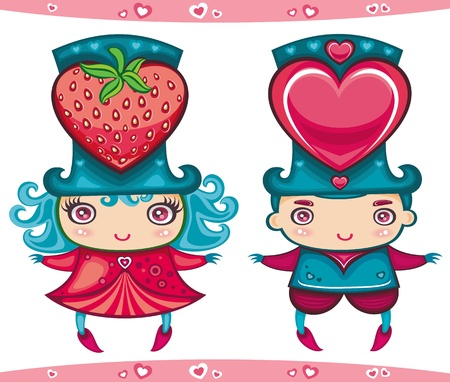 Valentines couple boy and girl Vector