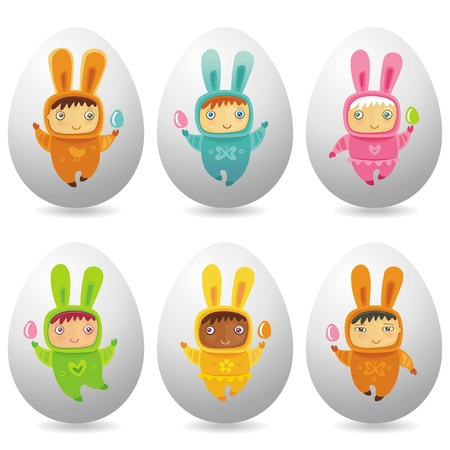 Easter eggs with cute little babies Vector