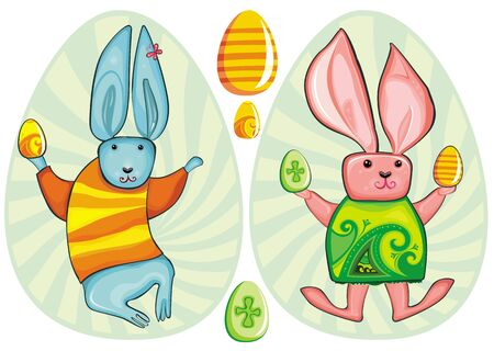 Cute collection of easter rabbits and eggs. Vector