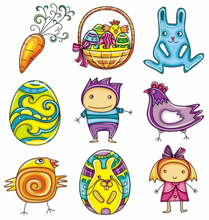 passover and easter chick: Easter doodles design elements (series)