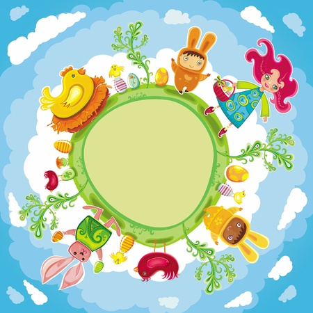 Happy Easter green round card  Vector