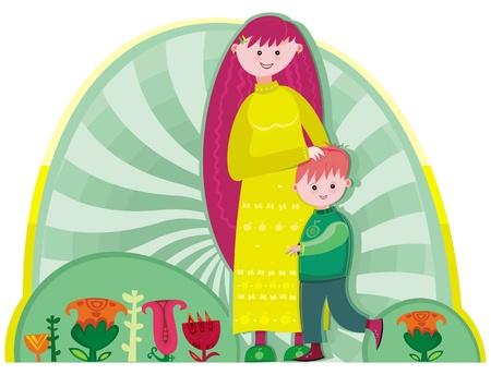 mama e hijo: D�a de la madre feliz! Una joven madre con un hijo Linda en el parque.