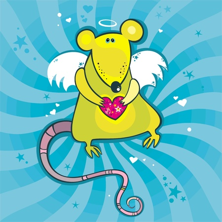 Angel cupid rat card.  Vector