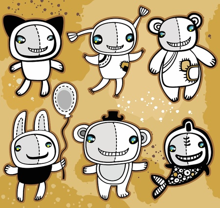 mono caricatura: Animales de juguetes de vector lindo sobre fondo antiguo