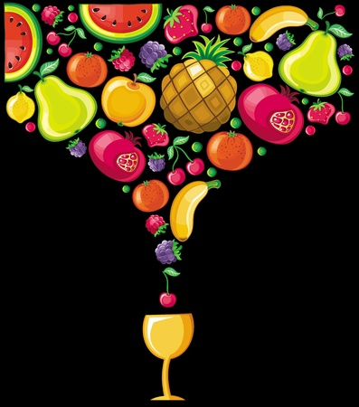 combined: Different types of delicious fruits combined in a shape of drink Illustration