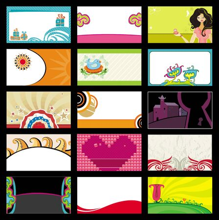 15 colorful business cards - vector set.  Vector