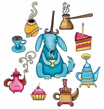 mate: Funny, coffee, mate, tea, set with cute dog  Illustration