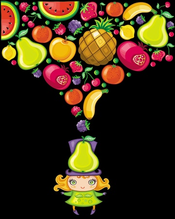 Pear girl (fruity series)  Vector