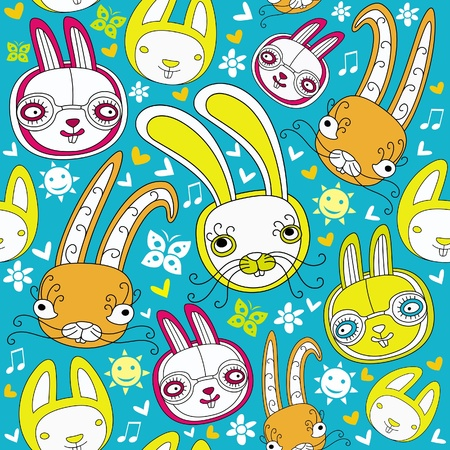 Cartoon doodle background with colorful bunnies.  Vector