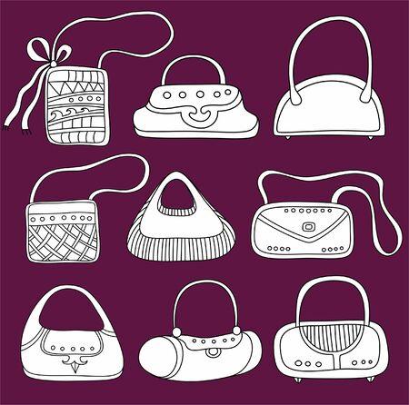 Un ensemble de sacs à main. Cute différentes formes et estampes.
