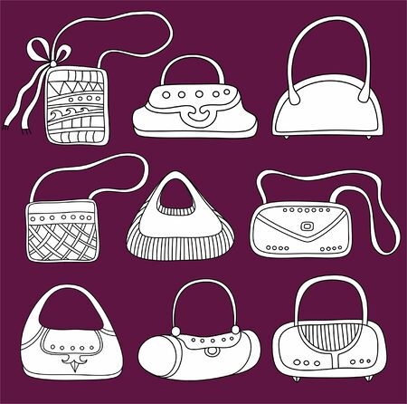 A set of  purses. Cute different shapes and prints. Vector