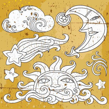 sol caricatura: Conjunto de s�mbolos celestes de vectores: sol, Luna, estrellas, cometa, con rostros humanos y Linda nube.