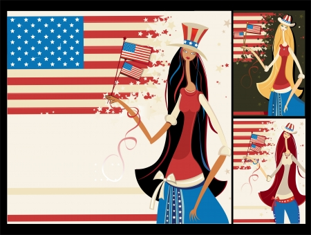 vector banners: Vector banners with Beautiful American girls