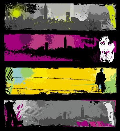 punk: Banni�res urbains �l�gants de grunge.  Illustration