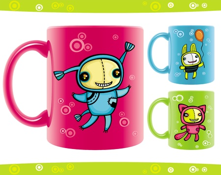 Set of cups with funny beasts drawings. Stock Vector - 9381731