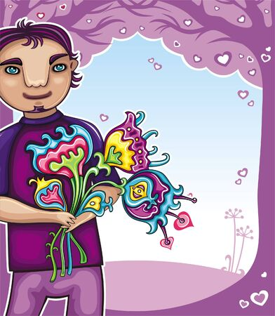 Young boy with flowers (boys series)  Vector
