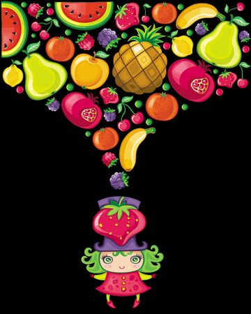 Strawberry girl (fruity series)  Vector