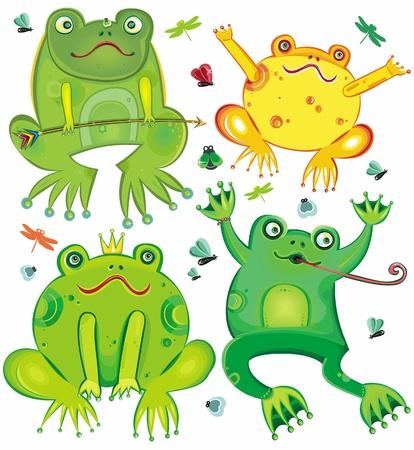 princess frog: Conjunto de vector divertido de ranas lindas  Vectores