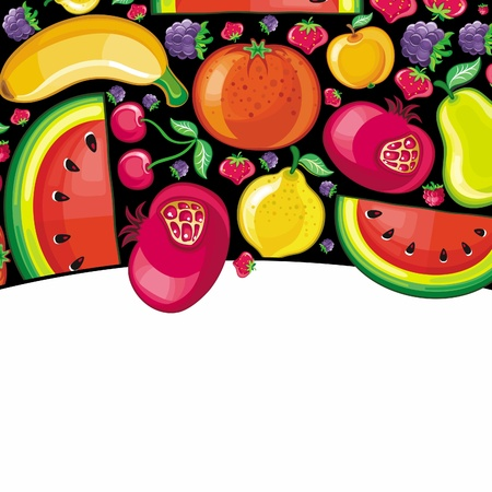 Different types of delicious fruits combined in frame. With space for your text  Vector