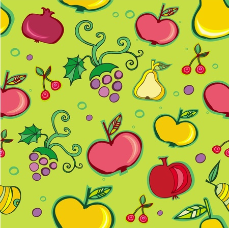 Vector seamless pattern of fruit. Vector