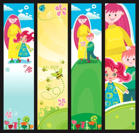 Colorful Banners for Mothers day with copyspace.  Vector
