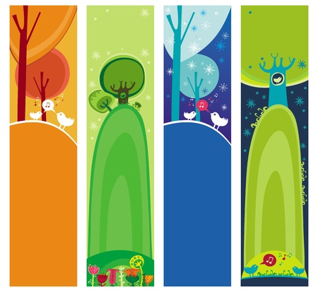 vertical garden: Colorful set of seasonal, natural banners, with space for your text