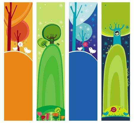 Colorido conjunto de banners estacionales, naturales, con espacio para el texto