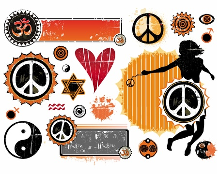 peace sign: A set of Esoteric symbols Illustration