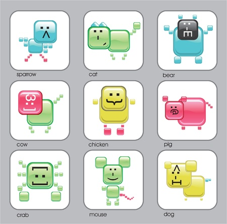 Internet web animals. Glossy internet characters icons Vector