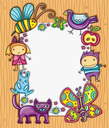 wooden frame: Children cimposition