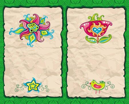 Floral paper grunge backgrounds  Vector