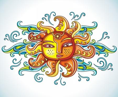 soleil souriant: Symbole du soleil.  Illustration