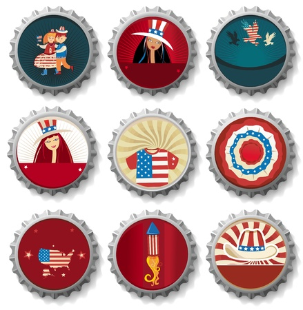 USA bottle-caps.  Vector