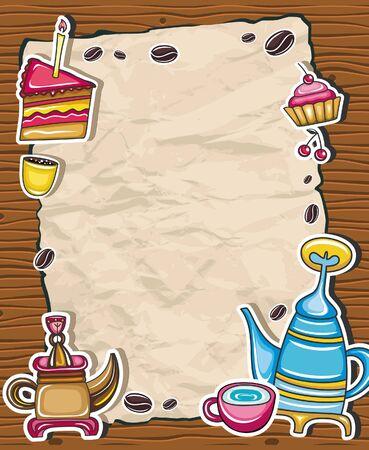 kettles: Marco de grunge cosecha con caf�, t�, s�mbolos de pastel, aislados sobre fondo de madera.  Vectores