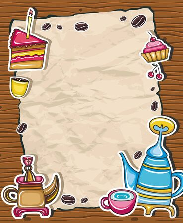 kettle: Vintage grunge frame with coffee, tea, cake symbols, isolated on wooden background.