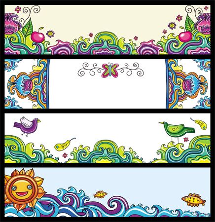 bookmarks: Floral banners (floral series) Illustration